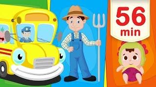 Svenska Barnsånger Lång version | Hjulen På Bussen och mycket mer! | Barnvisor för Barn och Bebisar
