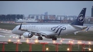 "Alitalia ""Embraer 190"" takeoff from""London City airport"" runway 09"