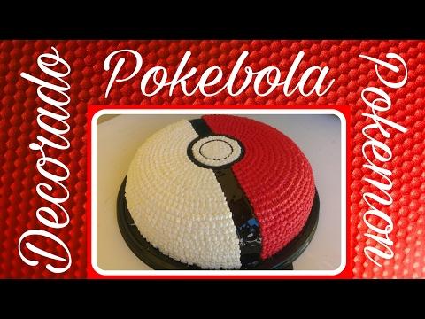 Pastel decorado en forma de pokebola Pokemon Técnica de puntos