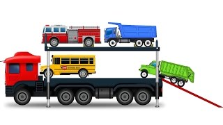 Colors for Children to Learn with Car Transporter Street Vehicle Toys - Colours for Children