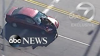 Car strikes person riding scooter during California police chase
