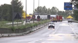 Aftermath: Plane crashes on to road in Italy