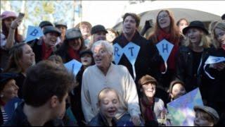 Dick Van Dyke's 90th Birthday Flash Mob + Sing-A-Long