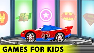 Spiderman and Lightning McQueen Cars Cartoon for Kids with Fun Race Learn Colors for Toddlers