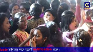 Teen girl and boys DJ dance at midnight Durga puja in chittagong