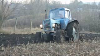 Вспашка земли ,Трактор МТЗ-80..