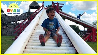 Kids Family Fun Trip to the Farm with Giant Slides for Halloween!!!