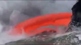 VOLCANO ERUPTION | Lava Pouring off | Lava entering the ocean
