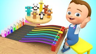Little Baby Fun Play with Wooden Cartoon Animal Cars Learn Animals Colors Kids Children Educational