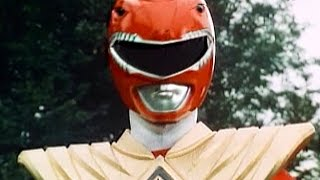 Mighty Morphin Power Rangers - Red Ranger Dragon Shield Morphs and Battles
