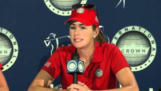 Stacy Lewis and Paula Creamer stop in the media center before the International Crown
