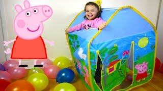 Giant Peppa Pig Kids Toy Tent Surprise with Balloon drop and Minnie Mouse Baby