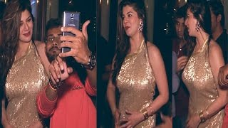 Busty Hot Babe Kainaat Arora in Tight Golden Backless Gown
