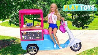 Play with Barbie Doll Food Truck Toys! 🎀