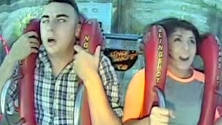 Guy Continuously Passes Out on Sling shot Ride