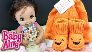 Baby Alive 2006 Doll Boo gets a Pumpkin Hat and Jack-o-Lantern Booties from Target