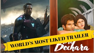 Top 10 Most Liked Trailer  in the World | Dil Bechara | Sushant Singh Rajput | Avengers Endgame