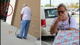 عندما قام هذا الرجل البالغ 89 سنة بإسقاط أغراضه ، بكت هذه الام عندما اقتربت منه وعلمت السبب
