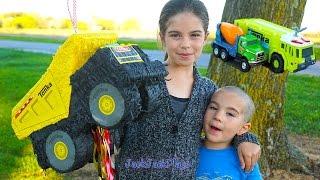 Kids Opening Surprise Toys Piñata Dump Truck: Tonka Toy Trucks and Tinys