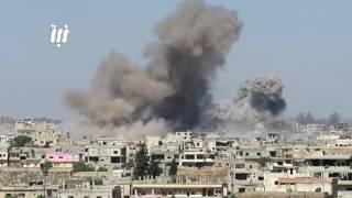 تجدد القصف لجوي والصاروخي على أحياء درعا البلد في مدينة درعا