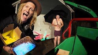 1000 Glow Sticks in a Wood Chipper VS Umbrella Man!