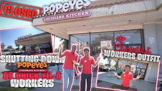 DRESSED UP AS A CHICK FIL A WORKERS AND SHUT DOWN A POPEYES! *They went crazy!*