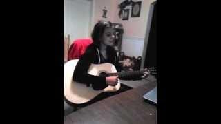 Lauren practicing 5sos Amnesia on her guitar