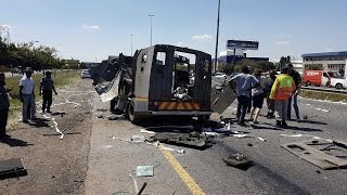 CASH IN TRANSIT VEHICLE BLOWN-UP IN ARMED ROBBERY JOHANNESBURG