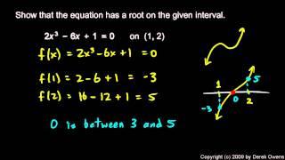 Calculus 2.7d - Intermediate Value Theorem Examples