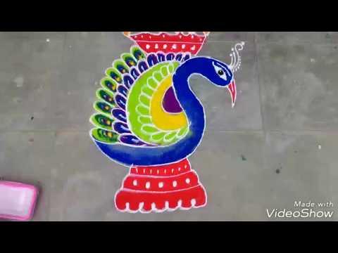 Diwali ragoli, peacock motif rangoli for dipawali deepawali simple easy  rangoli for diwali