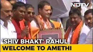 """""""Shiva Devotee"""" Rahul Gandhi Gets A Bol Bam Welcome In Amethi"""