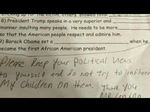 Dad furious when daughter gets anti Trump assignment