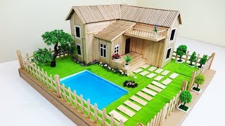 How to Make A Popsicle Stick House With Beautiful Fairy Garden & Swimming Pool - Dream House