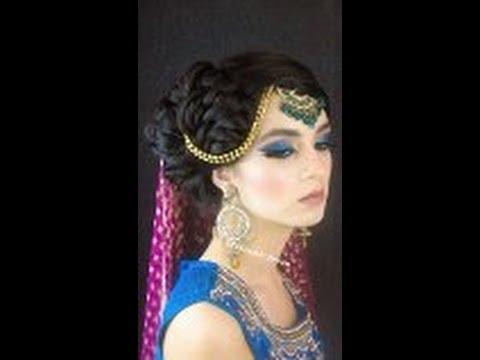 Asian bridal walima hair and makeup tutorial glittery eyes