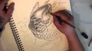 Vẽ Cá Chép TATTOO