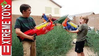 The Chore Nerf Battle! Nerf Blasters Yardwork Mess!
