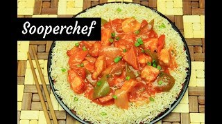 Sweet and Sour Chicken with Butter Garlic Rice Recipe - SooperChef