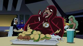Flash has dinner with Wonder Woman and Hawkgirl