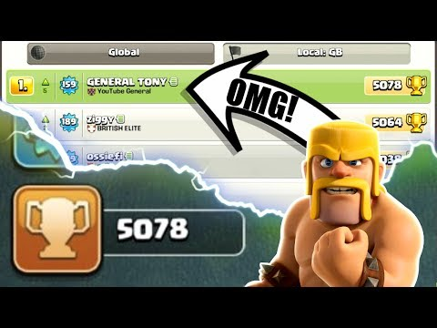 OMG WE ARE NUMBER 1 ON THE LEADER BOARD INSANE HIGH LEVEL GAME PLAY IN CLASH OF CLANS