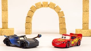 Jackson Storm Plays with Portals Stop Motion Cars Miss Fritter Pizza