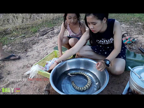 Beautiful Girls Cooking snake - How to Cook Water Snake in Cambodia - Country food in my village