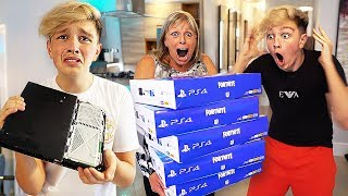 DESTROYING MORGZ PS4 & BUYING HIM 100 NEW ONES... ($10,000)