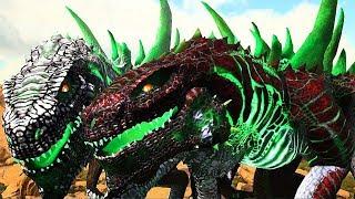 Casal de GodZilla do Deserto, Destruição TOTAL dos Dinossauros! Ark Survival Evolved