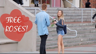 Giving Roses for Valentine's Day at USC