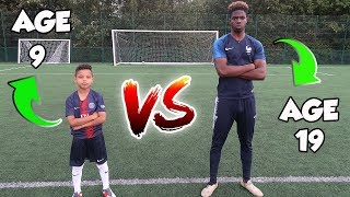 9 YEAR OLD VS 19 YEAR OLD!! PENALTY SHOOTOUT CHALLENGE!! TASH BALLER VS SV2!!