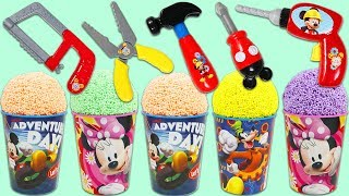 Play Foam Surprise Cups Opening with Disney Mickey Mouse Pretend Tools!