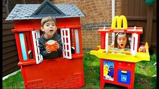 MCDONALDS DRIVE THRU * Pretend Play * Real Food * Kids Fun