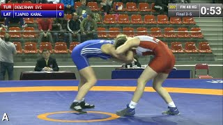 BRONZE FW - 48 kg: Evin DEMIRHAN (TUR) df. Karalina TJAPKO (LAT), 8-0