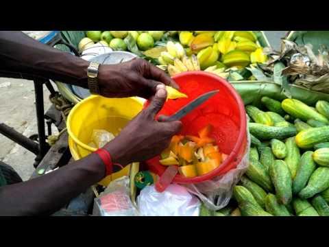 Indian Street Food Kolkata - Bengali street food India - tasty guava and kamranga fruit chat
