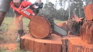 FRC 52 cc cutting iron bark.wmv